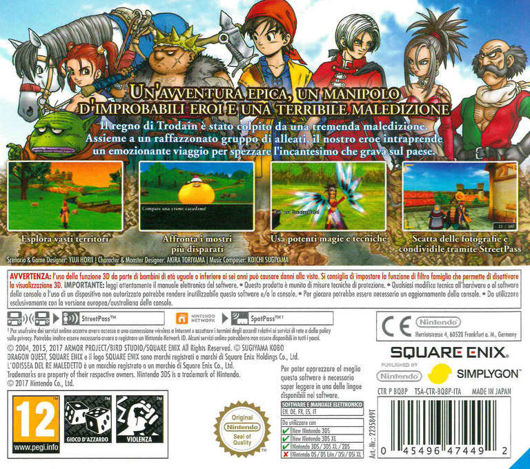 Dragon Quest VIII: L'Odissea del Re Maledetto 3DS backHQ (BQ8P)