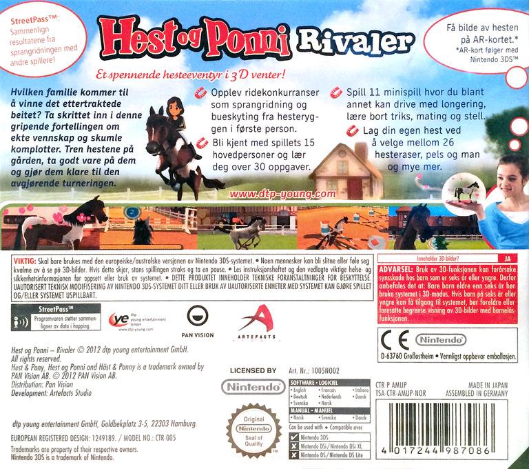 Hest og Ponni - Rivaler 3DS backHQ (AMUP)