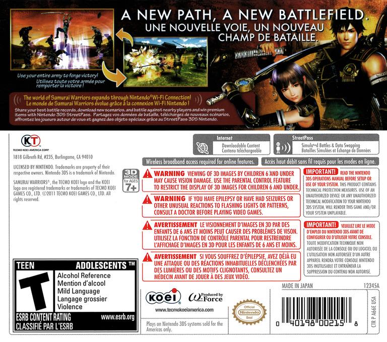 Samurai Warriors - Chronicles 3DS backHQ (A66E)