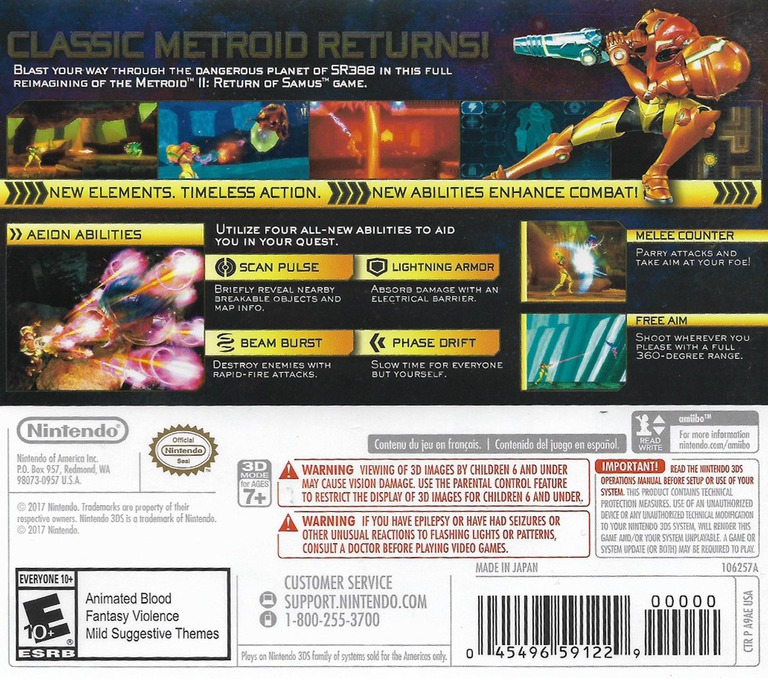 Metroid: Samus Returns 3DS backHQ (A9AE)