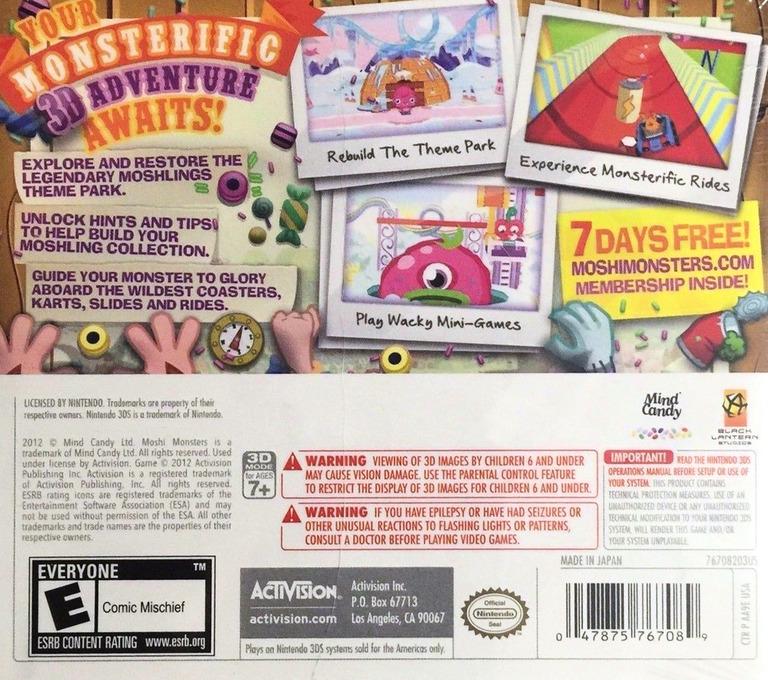 Moshi Monsters - Moshlings Theme Park 3DS backHQ (AA9E)