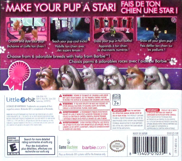 Barbie Groom & Glam Pups 3DS backHQ (ABYE)
