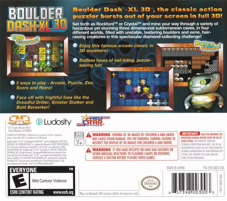 Boulder Dash-XL 3D 3DS backHQ (ABZE)