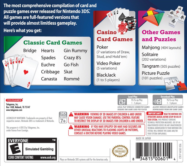 Classic Games Overload - Card & Puzzle Edition 3DS backHQ (ACGE)