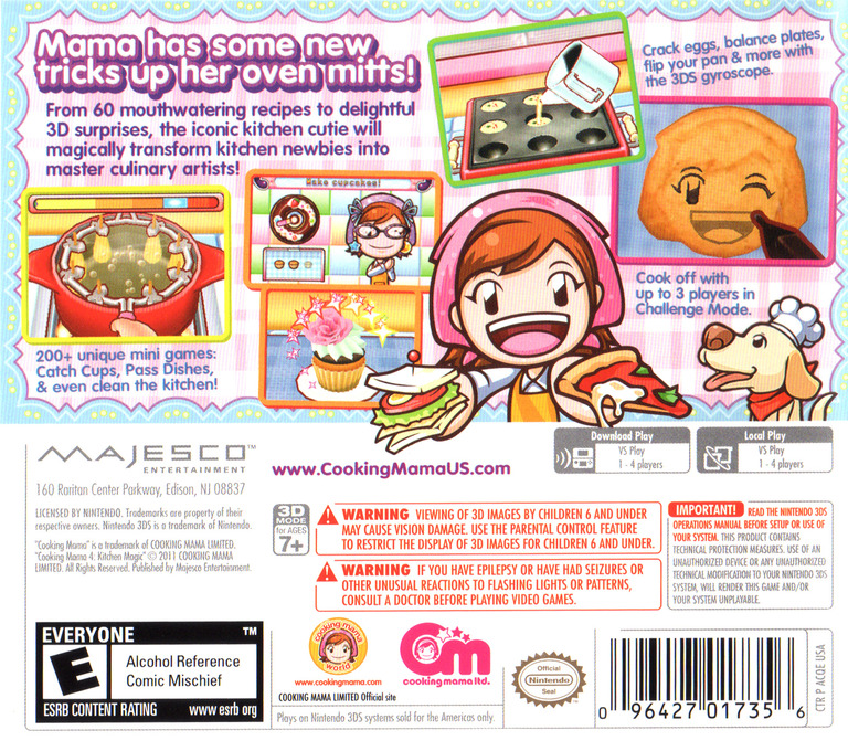 Cooking Mama 4 - Kitchen Magic 3DS backHQ (ACQE)