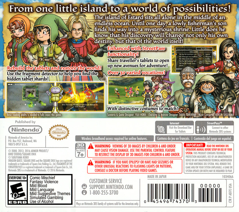Dragon Quest VII: Fragments of the Forgotten Past 3DS backHQ (AD7E)