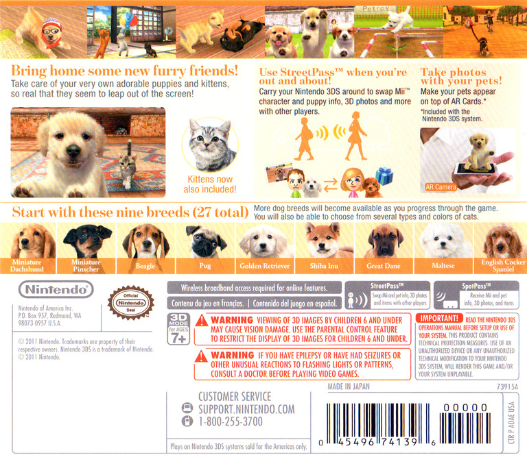 Nintendogs + Cats - Golden Retriever & New Friends 3DS backHQ (ADAE)