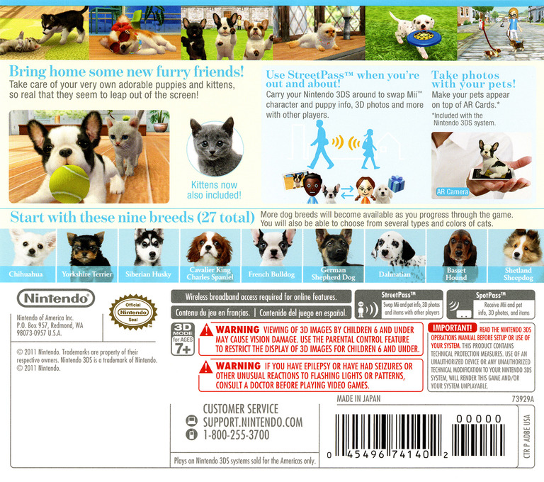 Nintendogs + Cats - French Bulldog & New Friends 3DS backHQ (ADBE)