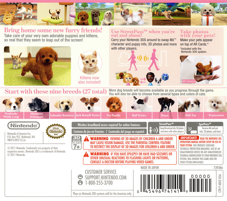 Nintendogs + Cats - Toy Poodle & New Friends 3DS backHQ (ADCE)