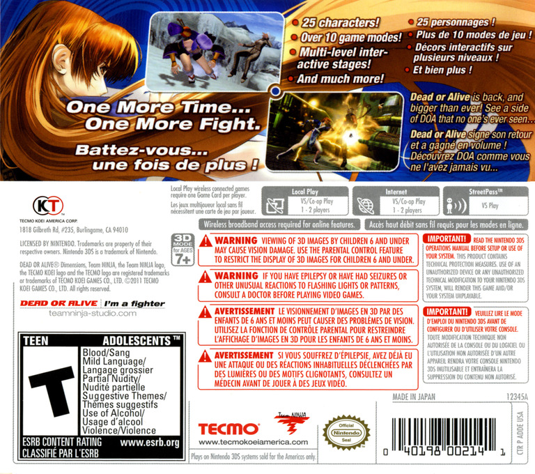Dead or Alive - Dimensions 3DS backHQ (ADDE)
