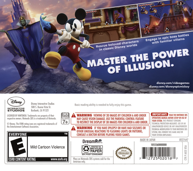 Disney Epic Mickey - Power of Illusion 3DS backHQ (AECE)