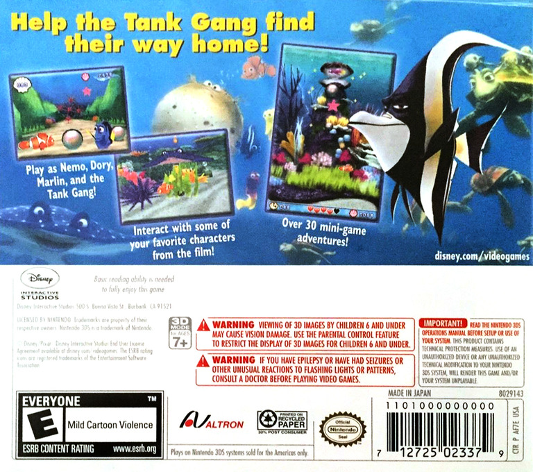 Finding Nemo - Escape to the Big Blue - Special Edition 3DS backHQ (AF7E)