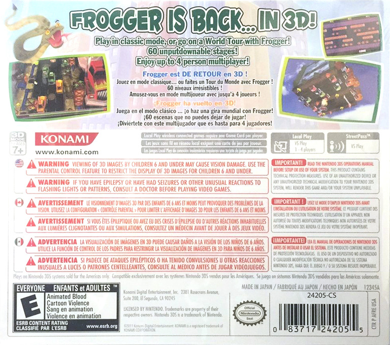 Frogger 3D 3DS backHQ (AFRE)