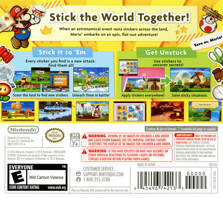 Paper Mario - Sticker Star 3DS backHQ (AG5E)