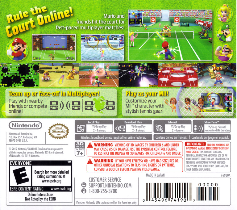 Mario Tennis Open 3DS backHQ (AGAE)