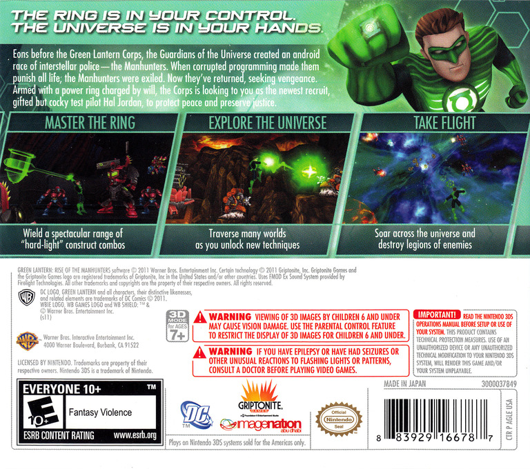 Green Lantern - Rise of the Manhunters 3DS backHQ (AGLE)