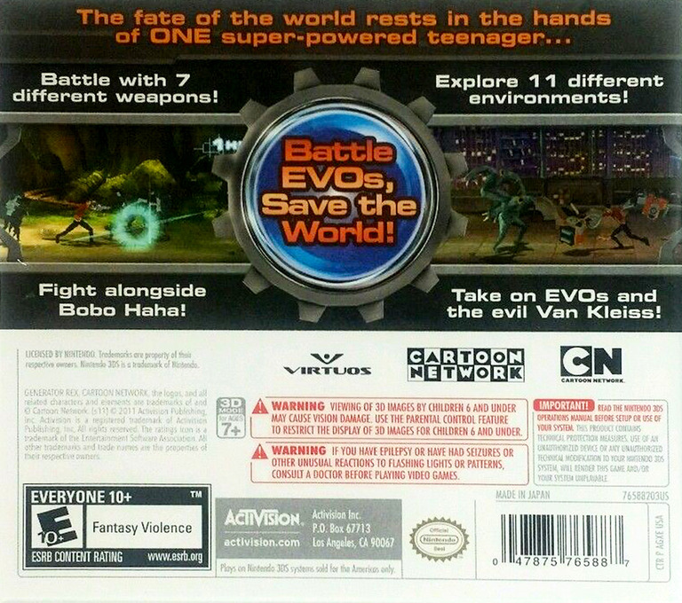 Generator Rex - Agent of Providence 3DS backHQ (AGXE)