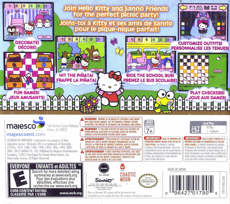 Hello Kitty Picnic with Sanrio Friends 3DS backHQ (AHLE)
