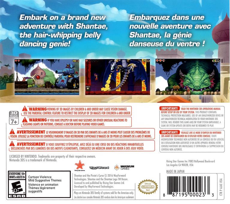 Shantae and the Pirate's Curse 3DS backHQ (AJAE)