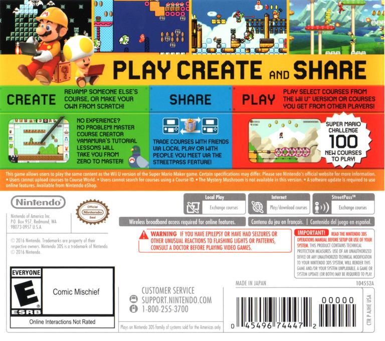 Super Mario Maker for Nintendo 3DS 3DS backHQ (AJHE)