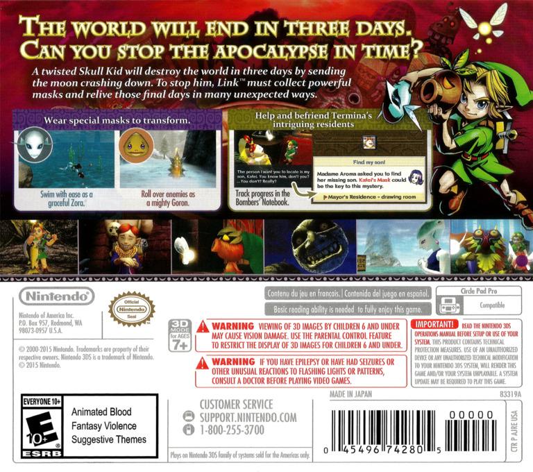 The Legend of Zelda - Majora's Mask 3D 3DS backHQ (AJRE)