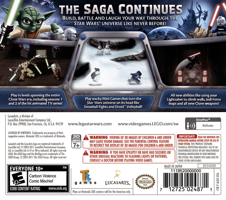 LEGO Star Wars III - The Clone Wars 3DS backHQ (ALGE)