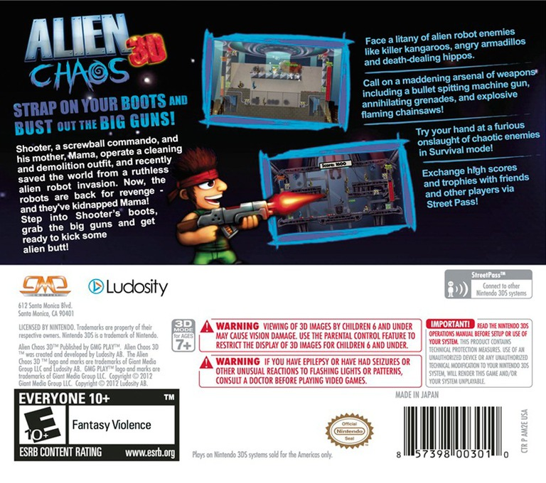 Alien Chaos 3D 3DS backHQ (AM2E)