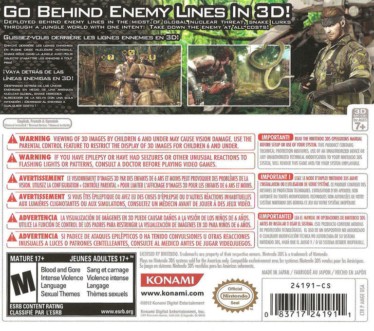 Metal Gear Solid 3D - Snake Eater 3DS backHQ (AMGE)