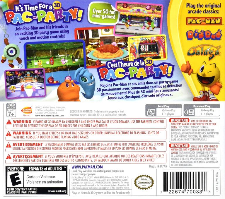 Pac-Man Party 3D 3DS backHQ (AP9E)