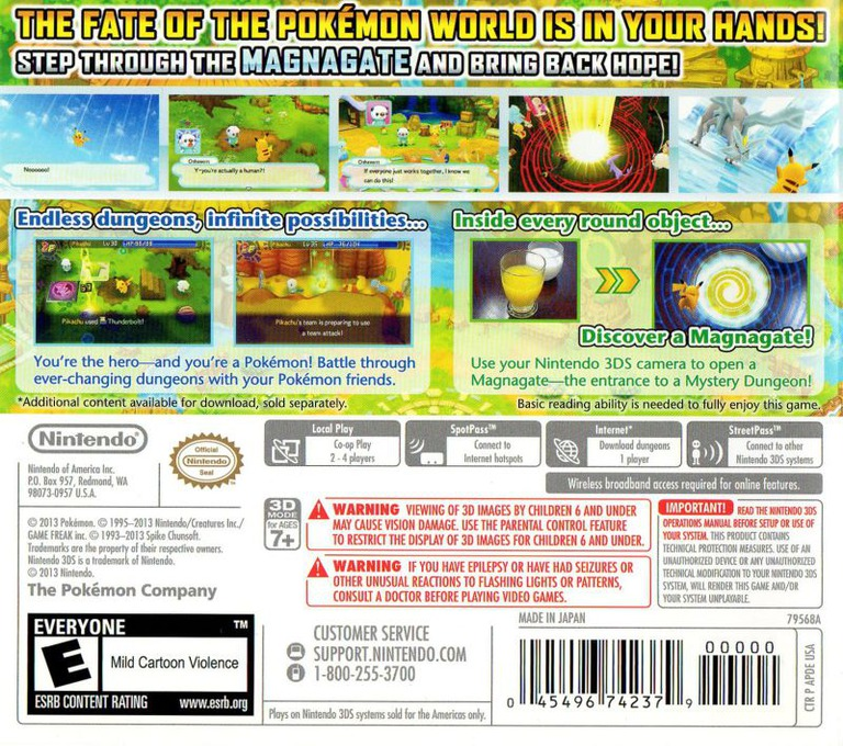 Pokémon Mystery Dungeon - Gates to Infinity 3DS backHQ (APDE)