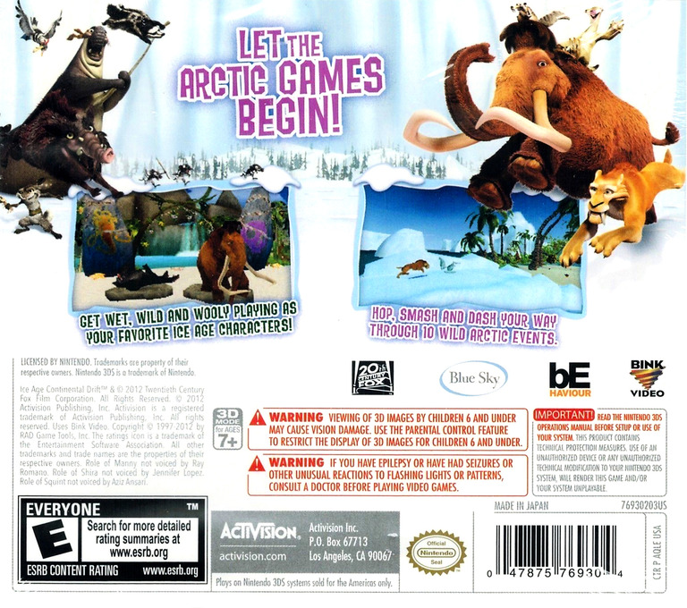 Ice Age - Continental Drift - Arctic Games 3DS backHQ (AQLE)