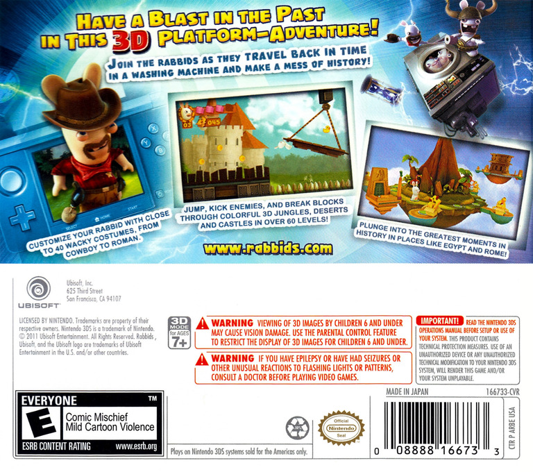 Rabbids - Travel in Time 3D 3DS backHQ (ARBE)