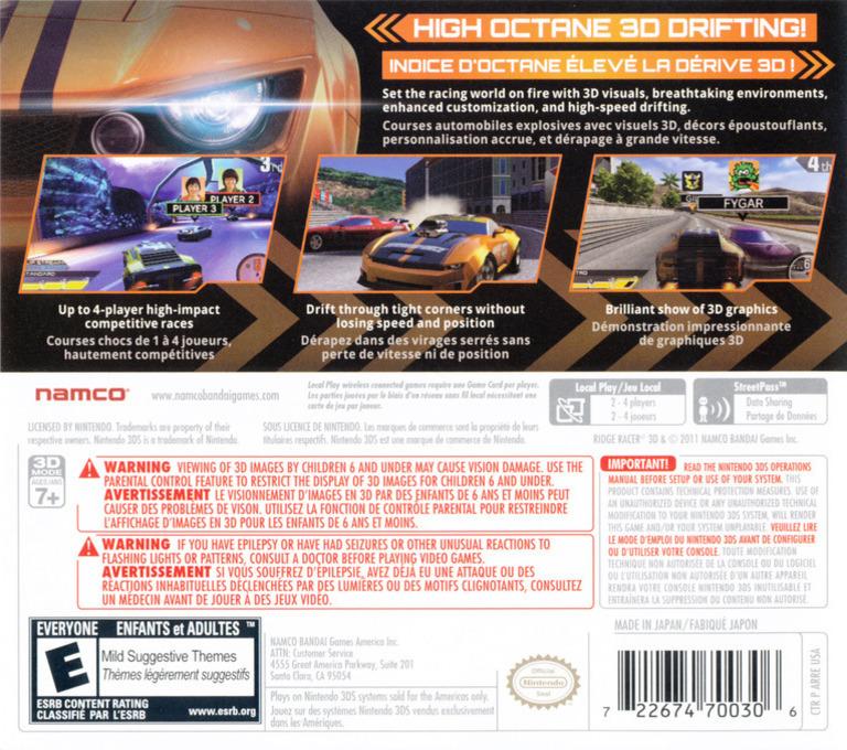 Ridge Racer 3D 3DS backHQ (ARRE)