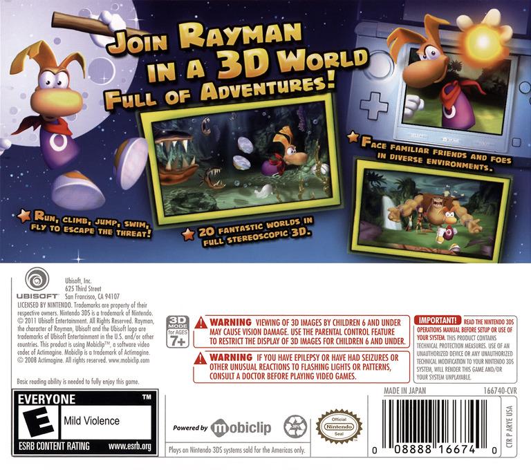 Rayman 3D 3DS backHQ (ARYE)