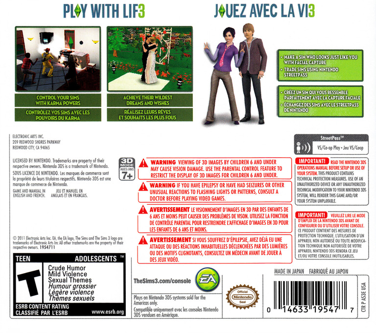 The Sims 3 3DS backHQ (AS3E)