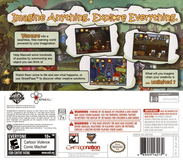Scribblenauts Unlimited 3DS backHQ (ASLE)