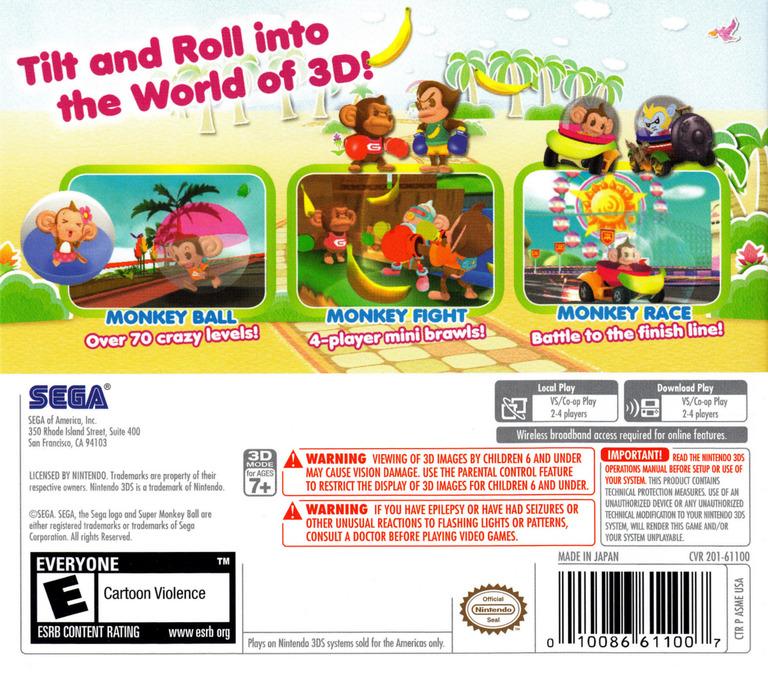 Super Monkey Ball 3D 3DS backHQ (ASME)