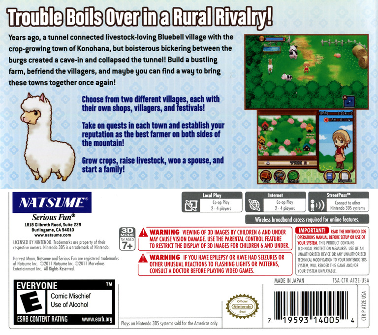 Harvest Moon 3D - The Tale of Two Towns 3DS backHQ (AT2E)