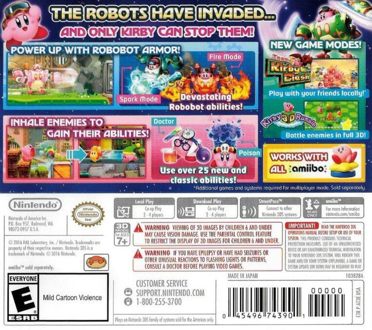 Kirby: Planet Robobot 3DS backHQ (AT3E)