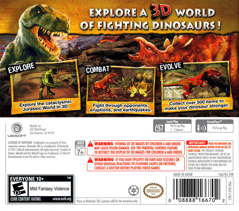 Combat of Giants - Dinosaurs 3D 3DS backHQ (ATTE)