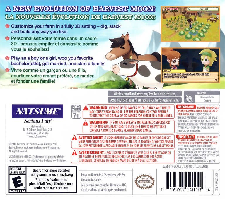 Harvest Moon 3D - The Lost Valley 3DS backHQ (AVME)