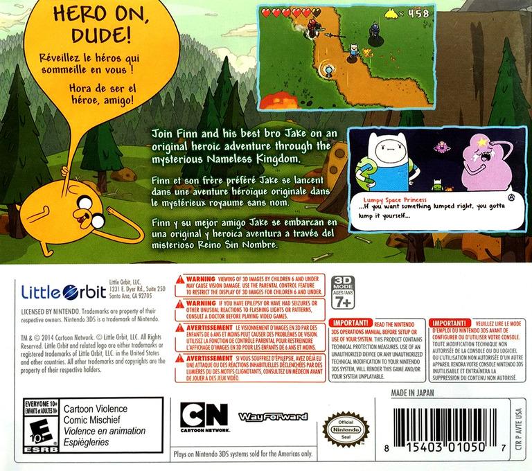 Adventure Time - The Secret of the Nameless Kingdom 3DS backHQ (AVTE)