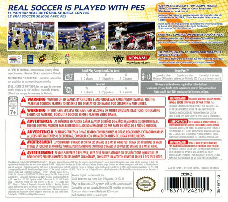 Pro Evolution Soccer 2013 3D 3DS backHQ (AWTE)