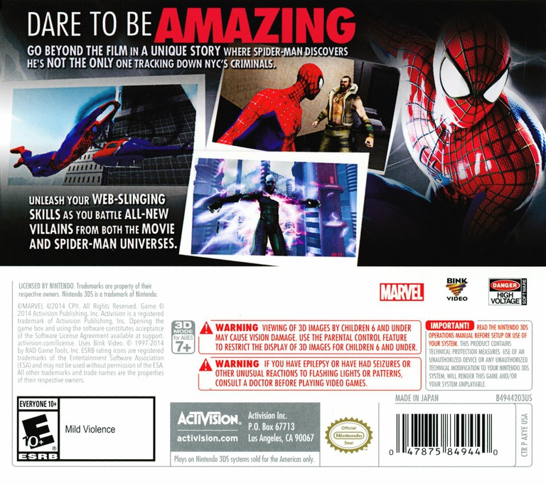 The Amazing Spider-Man 2 3DS backHQ (AXYE)