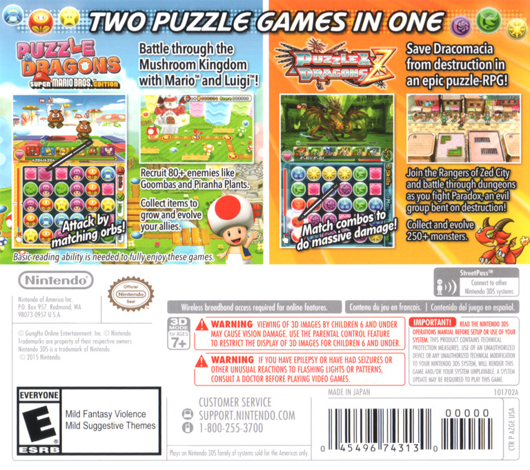 Puzzles & Dragons Z + Puzzles & Dragons Super Mario Bros. Edition 3DS backHQ (AZGE)