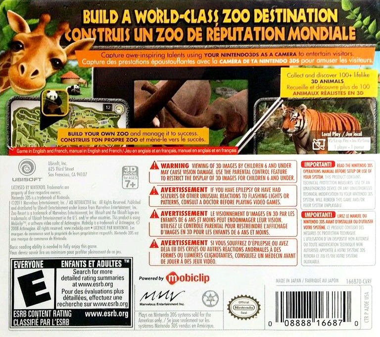 Zoo Resort 3D 3DS backHQ (AZOE)