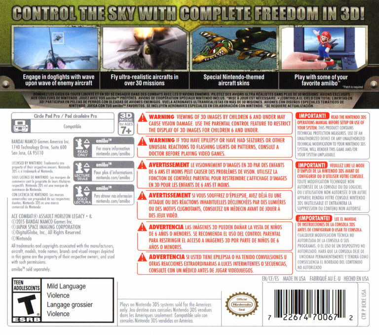 Ace Combat - Assault Horizon Legacy+ 3DS backHQ (BCRE)