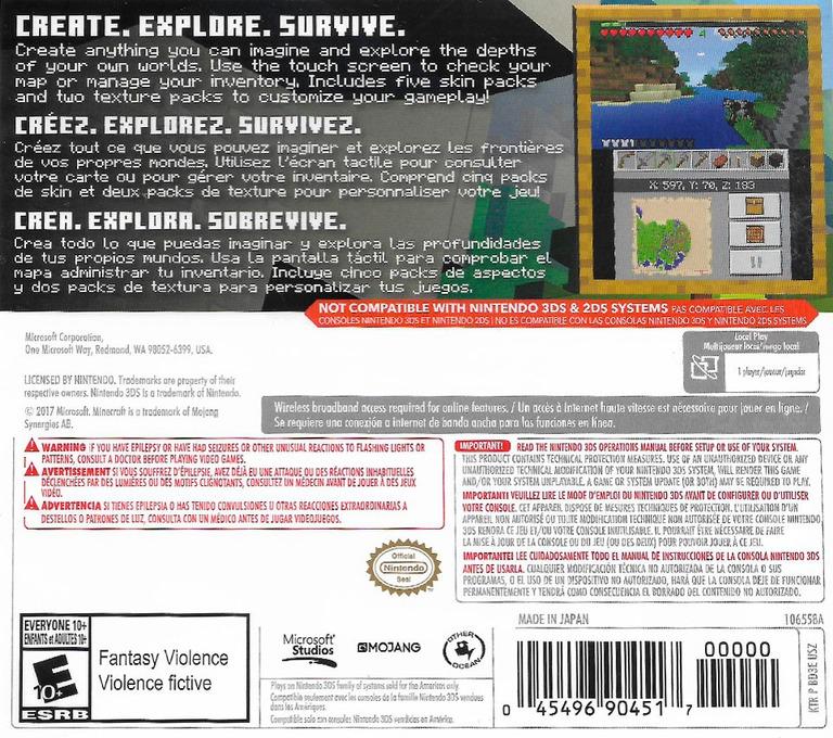 Minecraft: New Nintendo 3DS Edition 3DS backHQ (BD3E)