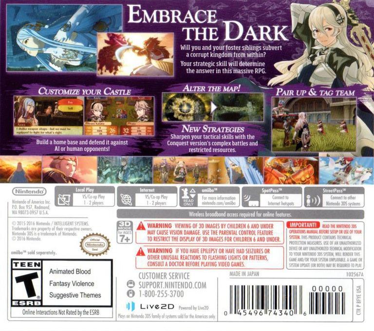 Fire Emblem Fates - Conquest 3DS backHQ (BFYE)