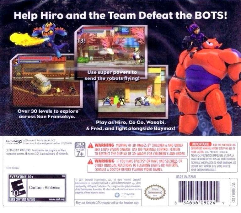Big Hero 6 - Battle in the Bay 3DS backHQ (BH6E)